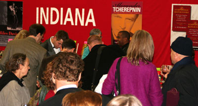 American Musicological Society Conventioners gather at the Indiana U. Press Exhibit